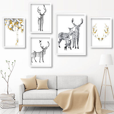 STAG DEER Art Print Grey & Yellow GALLERY WALL Poster Mix & Match