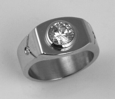 Men 316L Stainless Steel Cubic Zirconia CZ 11mm Ring Band Size 7, 11 NEW SS51