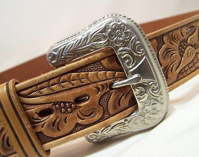 Western Style Hand Finished Tooled Leather Belt Heavy Silver-Tone Buckle Size L