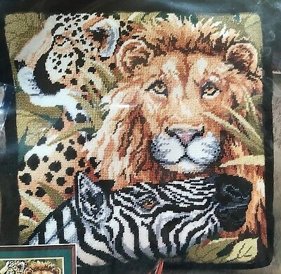 Vtg Bucilla Safari Scene Needlepoint Kit 4671 Lion Zebra Cheetah Pillow Wall New