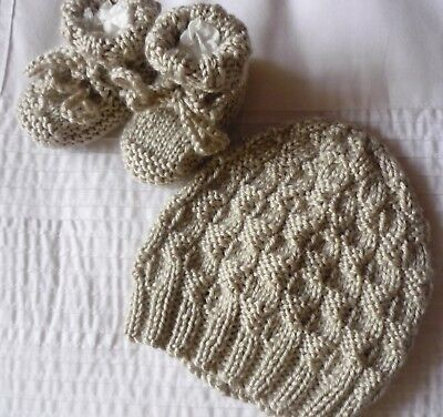 Beanie & Booties Set. Beige. Hand-knitted by me. Boy or Girl. Soft.