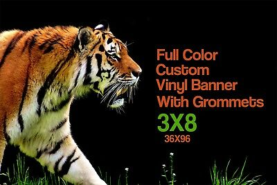 3' x 8' Custom Vinyl Banner Full Color with Grommets - Design Help Included