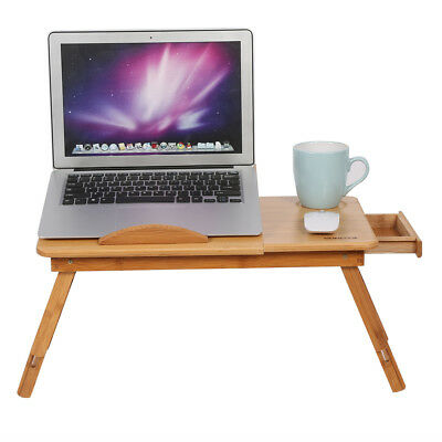 Portable Folding Bamboo Bed Laptop Desk Tray with Drawer Anti Slip Baffle GL