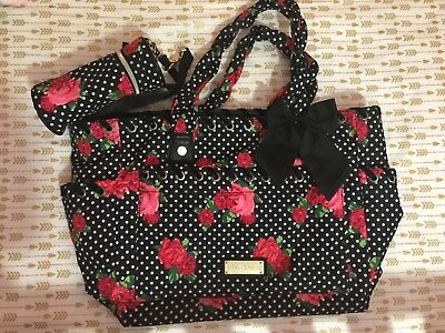 Betsey Johnson Diaper Bag Black With White Dots And Red Pink Flowers