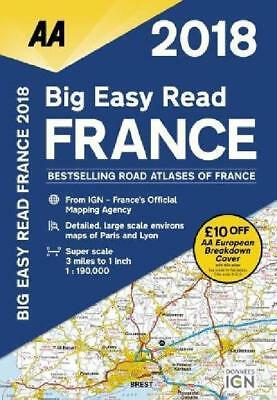 France Atlas Big Easy Read 2018 Road Spiral Publishing Bound Aa Car Driving Book
