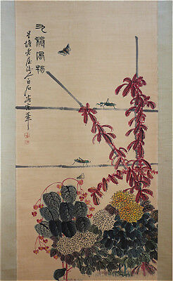 "RARE Chinese 100% Hand Scroll & Painting ""Flowers & Insects"" By Qi baishi 齐白石 SN"