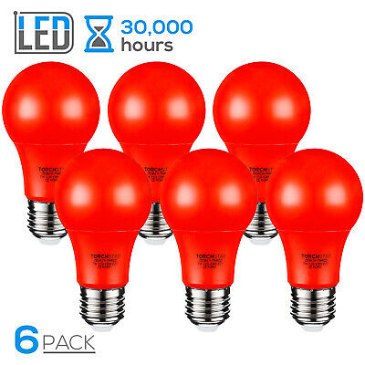 TORCHSTAR 7W Red LED A19 Colored Light Bulb, Non-Dimmable, Pack of 6