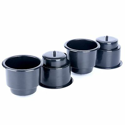 ( Set of 4 ) Black Recessed Drop in Plastic Cup Drink Can Holder with Drain