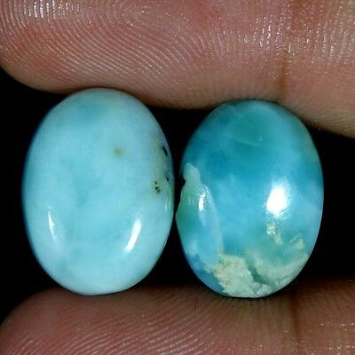 Amazing 100% LARIMAR 2 PCS LOT 21.00CT Oval MM Cabochon Gemstone For Jewelry
