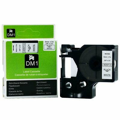 1 Pack 9mm Black On White Label Maker/Manager Tape for Dymo D1 40913 3/8""