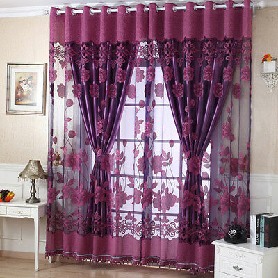 US Luxury Window Blackout Tulle Curtain Floral Voile Living Room Drape Panel NEW