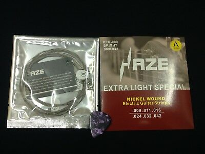 Haze Electric Guitar String Set,Bright Finish,Extra-light, .009~.042+1 Free Pick