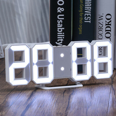 Alarm Clock 3D Large Digital LED Display USB Charge 3 Brightness 12/24 Hour