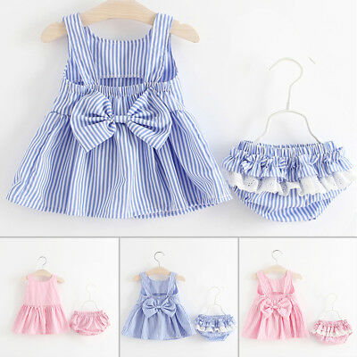 2018 Fashion Summer Baby Girl Kids Backless Dress+Shorts Bloomers Clothes Set