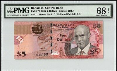 ***SINGLE FINEST KNOWN*** P-72 2007 Bahamas $5 Dollars, Central Bank PMG 68 EPQ