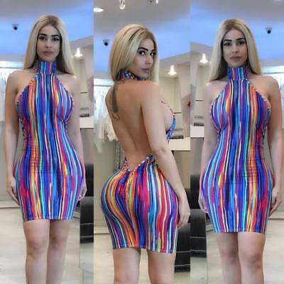 Women Halter backless bodycon club party cocktail colorful striped mini dress