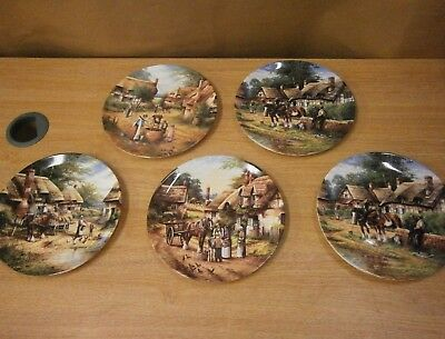 Collectors plates x5 Wedgwood Country Days Lunch Break Thatch Mending Water Brea