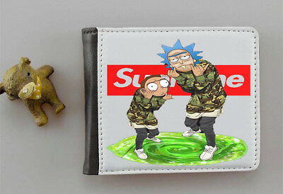 rick and morty supreme inspired funny mens faux leather wallet with photo holder