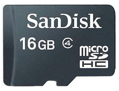 SANDISK 16GB Micro SD Class 4 For Mobile-Dash Cam-Camera-Tablet + SD Adapter
