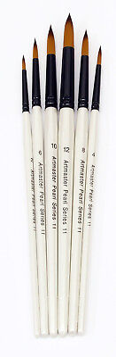 Artmaster Pearl Series 11 Watercolour Paint Brush Set of 6 Assorted Sizes