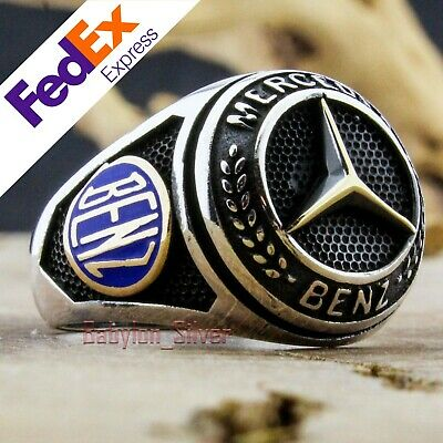 Mercedes BENZ Symbol Logo Turkish Handmade 925 Sterling Silver Ring All Sizes
