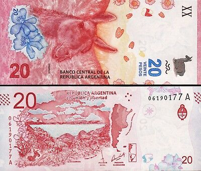Argentina 20 Pesos 2017 Unc Consecutive 5 Pcs Lot P New - Prefix A - New Design