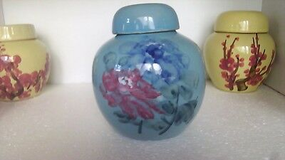 VINTAGE LARGE BLUE GINGER JAR PAINTED WITH PEONIES 1950s CHINA