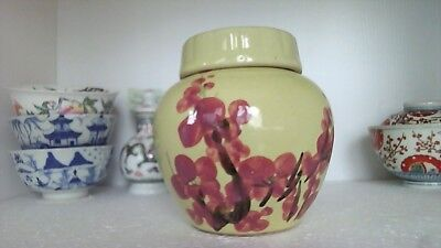 VINTAGE LARGE YELLOW GINGER JAR PAINTED WITH CHERRY BLOSSOM 1950s CHINA