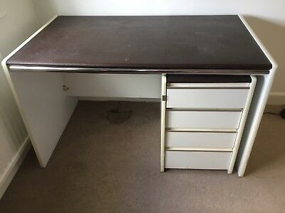 Retro Desk and pedestal (drawers). White and Brown. Christchurch Area.