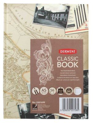 Derwent Classic Hard Back Sketch Book 165 gsm 56 Sheets A5