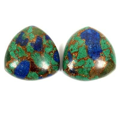 AZURITE Copper Mohave 16x16 mm Trillion 1 Pair Cabochon Gemstone 22 Cts S-30876