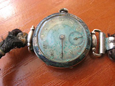 Vtg Rare Silver Eterna Ladies Antique Swiss Wrist Watch Parts Repair Steampunk