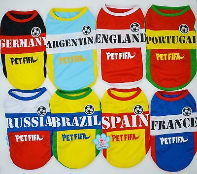 Pet Dog Cat Football World Cup Jersey Team Uniforms Vest T-shirt Clothes Costume