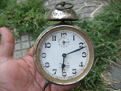 "VTG MAUTHE ERA WWII TIME ANTIQUE SMALLER KIENZLE W/ 3,5""( 9cm) FACE ALARM CLOCK"
