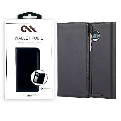 Case Mate Wallet Folio Leather Protection Case For Motorola Moto Z2 Force -Black