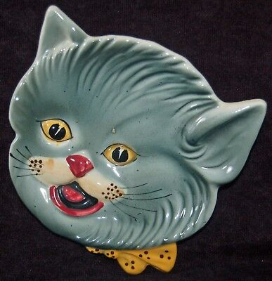 Vintage Hand Painted Shafford Gray Cat Plate