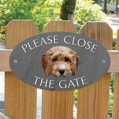 Cockapoo Please Close The Gate Sign, Cockapoo Gate Sign, Outdoor Stone Effect