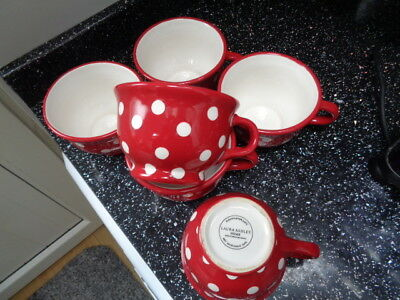 Laura Ashley Polka Dot Jumbo Mugs X 6