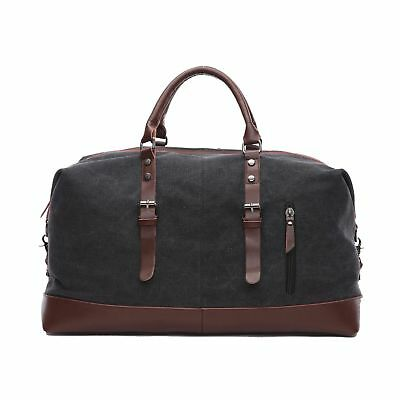 d8f6adfd0bcb Travel Duffel Unisex Weekend Bag Canvas Overnight Bags Carry On Bag Black
