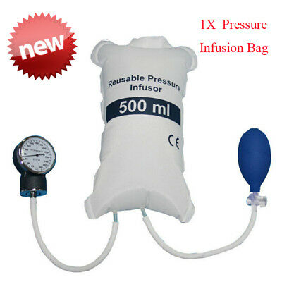Blood Pressure Infusion Bag 500ml With Gauge And Hand Pump Ball Emergency Aid