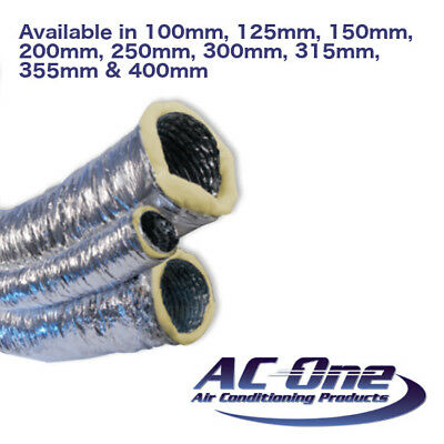 Insulated Flexible Ducting Duct Hose Tube - 10m Box -100mm 125mm 200mm 250mm 300