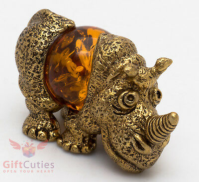 Solid Brass Amber Figurine of Rhinoceros Rhino talisman IronWork