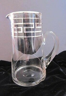 Antique Sterling silver overlay Hand blown Heavy Glass Pitcher~Greek Key~Stamped
