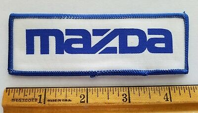 Vintage 1980s MAZDA Car Auto Patch Advertising for Jacket or Shirt Blue on White