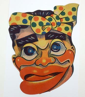 Pre War Japan Vintage Paper Mask- Comic Face with Head Scarf