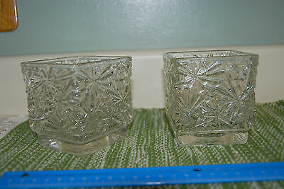 2 Avon Winter Lights Candle Holders Thick Clear Glass Snowflake Designs Vtg 1978