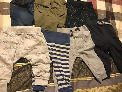 Bundle Of Baby Boy Trousers jeans joggers 9-12 Months X 6
