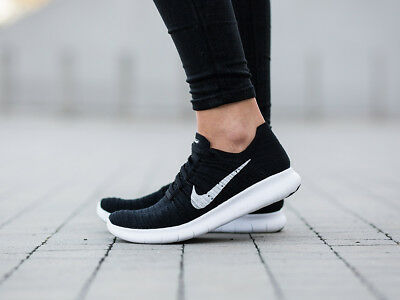 reputable site 0d410 291a8 Womens Nike Free Rn Flyknit Black White Running Training Workout Gym 831070- 001