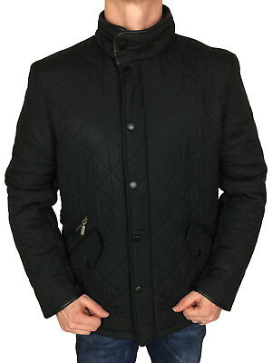 Barbour International Mens Powell Quilted Jacket in Black, S, M, L, XL, XXL, 3XL
