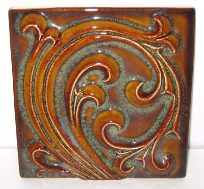 Rookwood Pottery Faience Arts & Crafts Tile Relief Brown Victorian Swirl